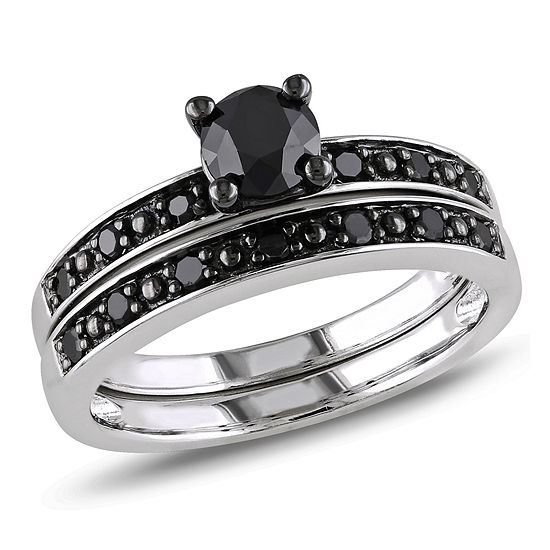Womens 1 CT. T.W. Genuine Black Diamond Sterling Silver Bridal Set