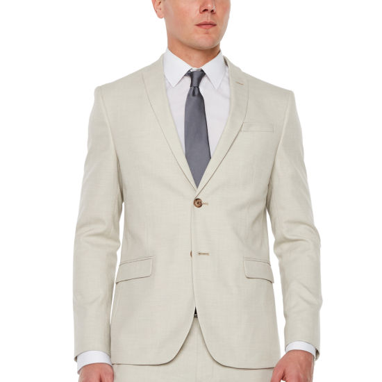 JF J.Ferrar Light Tan Slub Super Slim Fit Stretch Suit Jacket