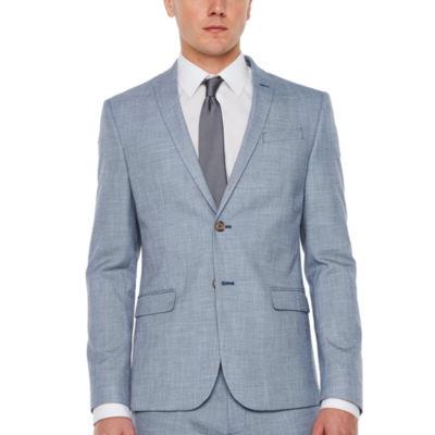 JF J.Ferrar Blue Slub Super Slim Fit Stretch Suit Jacket