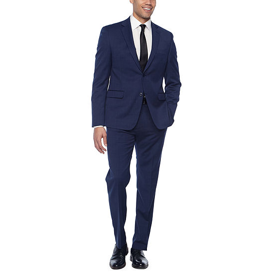 Collection By Michael Strahan Blue Plaid Suit Slim Fit