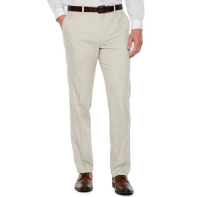 JF J.Ferrar Stretch Light Tan Slub Super Slim Fit Suit Pants