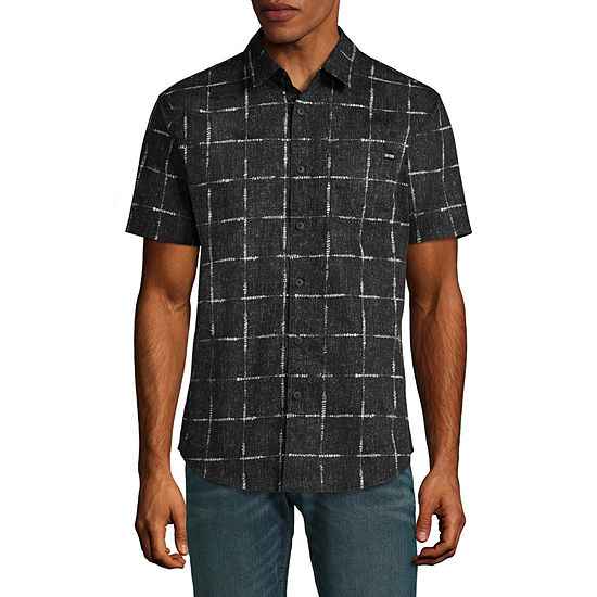 Zoo York Mens Crew Neck Short Sleeve Button-Front Shirt