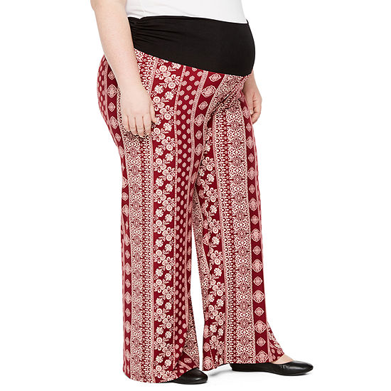 Planet Motherhood Over the Belly Palazzo Pants - Plus Maternity