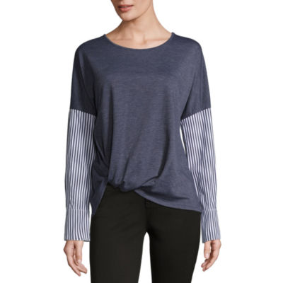 by&by Long Sleeve Round Neck French Terry Blouse-Juniors