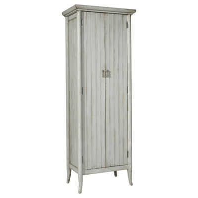 Distressed Grey Beadboard Wine Cabinet
