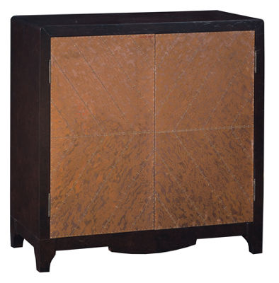 Copper Chevron Door Bar Cabinet