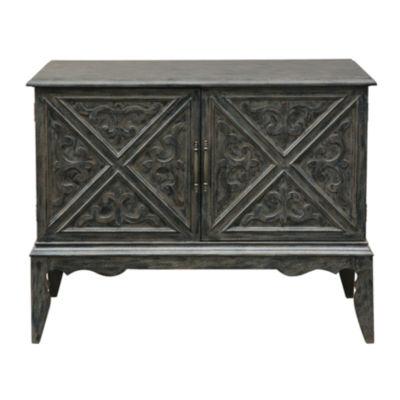 Winnifred Grey Carved Door Bar Cabinet