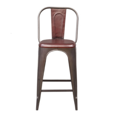 Rowan Industrial Leather Barstool