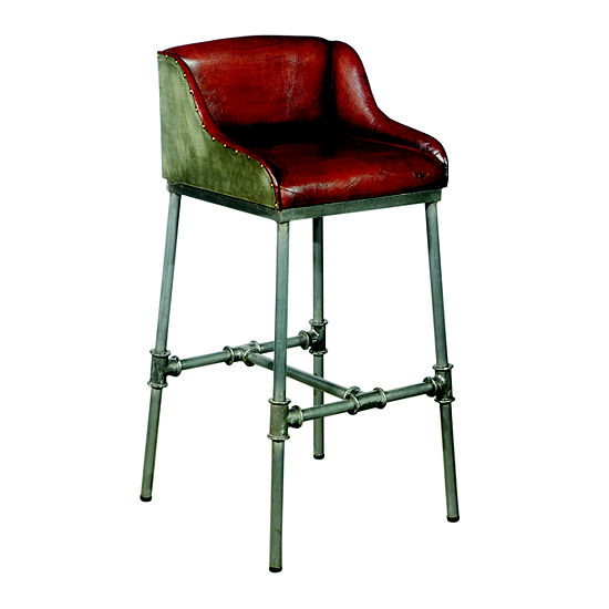 Brandon Industrial Leather Barstool