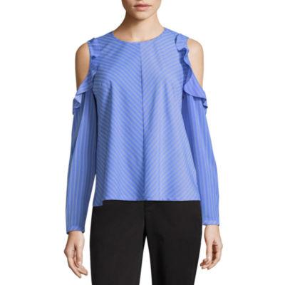 Liz Claiborne Long Sleeve Cold Shoulder Ruffle Blouse