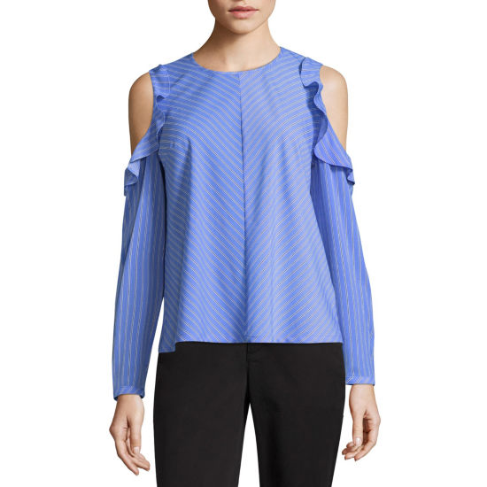 Liz Claiborne Long Sleeve Cold Shoulder Ruffle Blouse