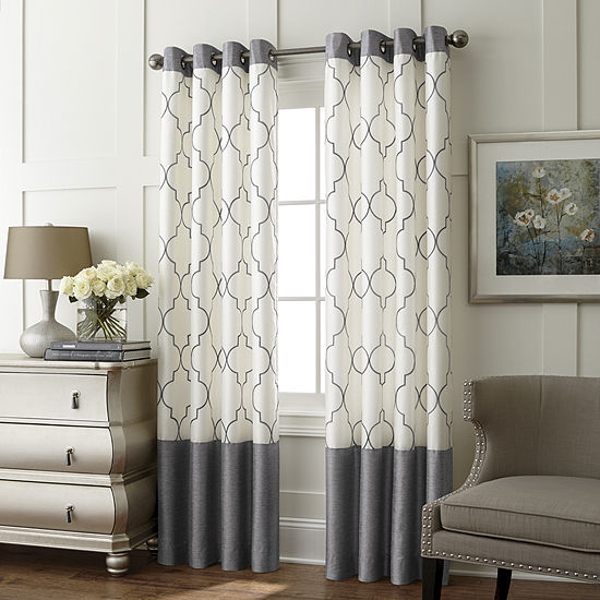 JCPenney Home Westfield Embroidery Room-Darkening Grommet Curtain Panel