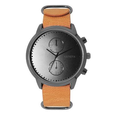 Geneva Mens Brown Strap Watch-33803