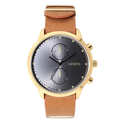 Geneva Mens Brown Strap Watch-33804