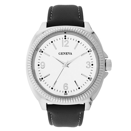 Geneva Mens Black Strap Watch-33807