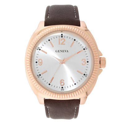 Geneva Mens Brown Strap Watch-33808