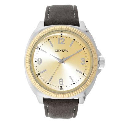 Geneva Mens Brown Strap Watch-33809