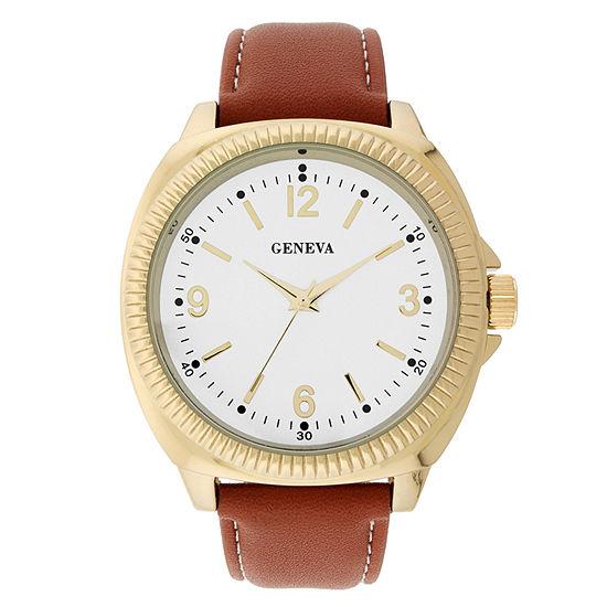 Geneva Mens Brown Strap Watch-33810
