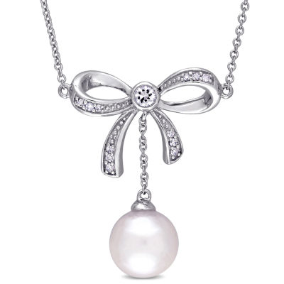 Laura Ashley Womens Diamond Accent Cultured Freshwater Pearl 10K Gold Bow Pendant Necklace
