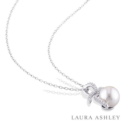 Laura Ashley Womens 1/10 CT. T.W. Cultured Freshwater Pearl Sterling Silver Bow Pendant Necklace