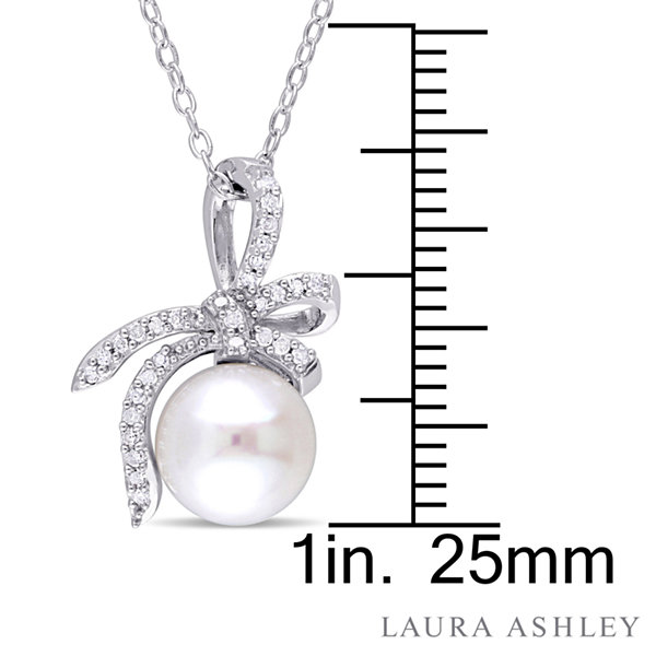 Laura Ashley Womens 1/10 CT. T.W. Pearl Sterling Silver Pendant Necklace