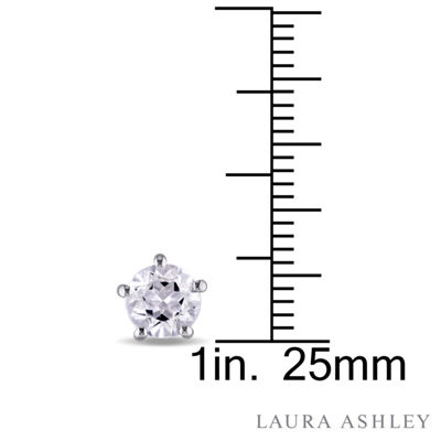 Laura Ashley Genuine White Topaz Sterling Silver 6.8mm Stud Earrings