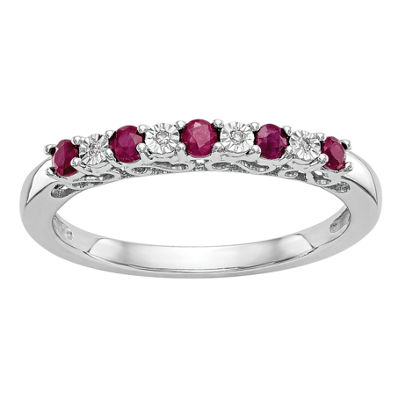 Womens Lab Created Ruby & Genuine Diamond Accent 14K White Gold Wedding Band