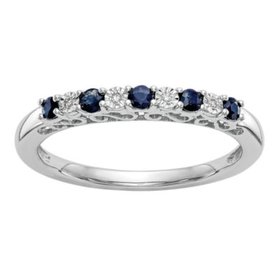 Womens Genuine Blue Sapphire & Genuine Diamond Accent 14K White Gold Wedding Band