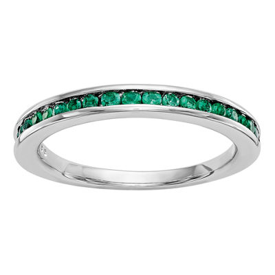 Womens Genuine Emerald 14K White Gold Wedding Band
