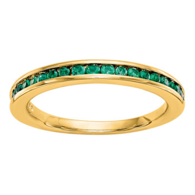 Modern Bride Gemstone Womens 2.5mm Green Emerald 14K Gold Round Wedding Band