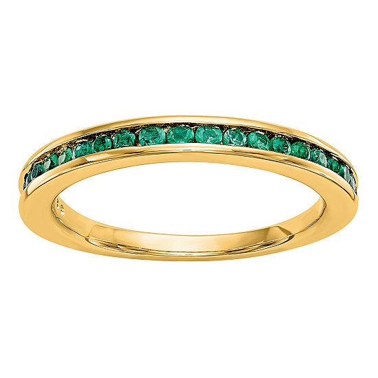 Modern Bride Gemstone Womens 25mm Genuine Green Emerald 14k Gold Round Wedding Band
