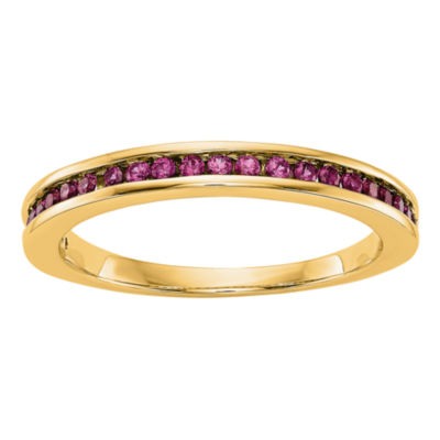 Womens Lead-Glass Filled Ruby 14K Gold Wedding Band
