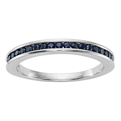 Modern Bride Gemstone Womens Blue Sapphire 14K White Gold Round Wedding Band