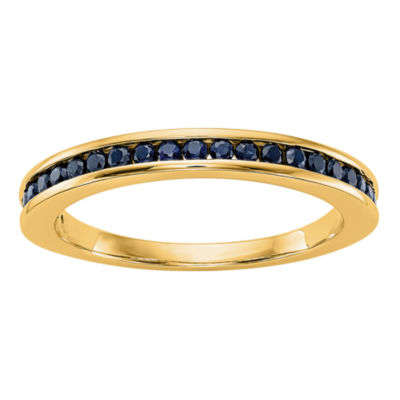 Modern Bride Gemstone Womens 2.5mm Blue Sapphire 14K Gold Round Wedding Band