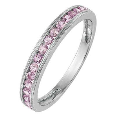 Womens Genuine Pink Sapphire 14K White Gold Wedding Band