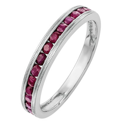 Womens Lab Created Ruby 14K White Gold Wedding Band