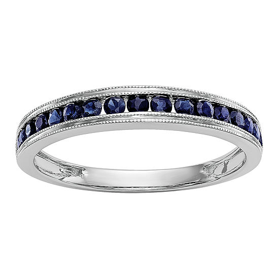 Womens Genuine Blue Sapphire 14K White Gold Wedding Band