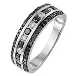 3MM 3/4 CT. T.W. Genuine Multi Color Diamond 14K White Gold Round Wedding Band