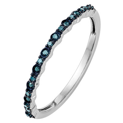 Womens 2mm 1/10 CT. T.W. Genuine Blue Diamond 14K White Gold Round Wedding Band