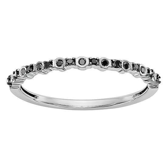 Womens 2MM 1/10 CT. T.W. Genuine Black Diamond 14K White Gold Round Wedding Band