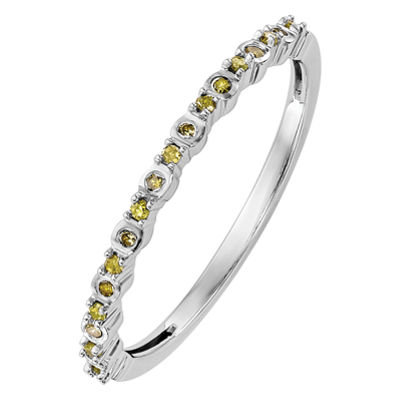 Womens 1/10 CT. T.W. Genuine Yellow Diamond 14K White Gold Round Wedding Band