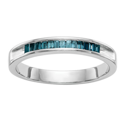 Womens 2.5MM 1/10 CT. T.W. Genuine Blue Diamond 14K White Gold Round Wedding Band