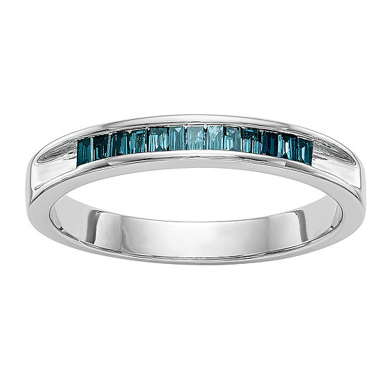 2.5MM 1/10 CT. T.W. Genuine Blue Diamond 14K White Gold Round Wedding Band