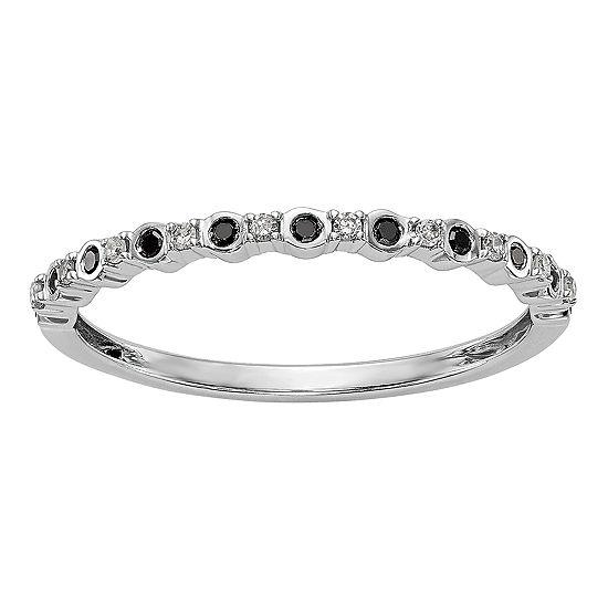Womens 1 10 Ct Tw Genuine Multi Color Diamond 14k White Gold Round Wedding Band