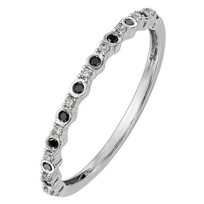 Womens 1/10 CT. T.W. Genuine Multi Color Diamond 14K White Gold Round Wedding Band