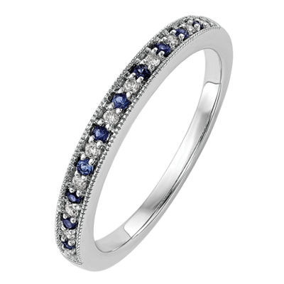 Womens Genuine Blue Sapphire & Diamond Accent 14K Gold Wedding Band