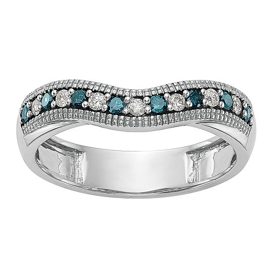 3.5MM 1/5 CT. T.W. Genuine Multi Color Diamond 14K White Gold Curved Wedding Band