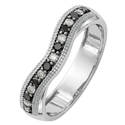 Womens 3.5mm 1/5 CT. T.W. Genuine Multi Color Diamond 14K White Gold Curved Wedding Band