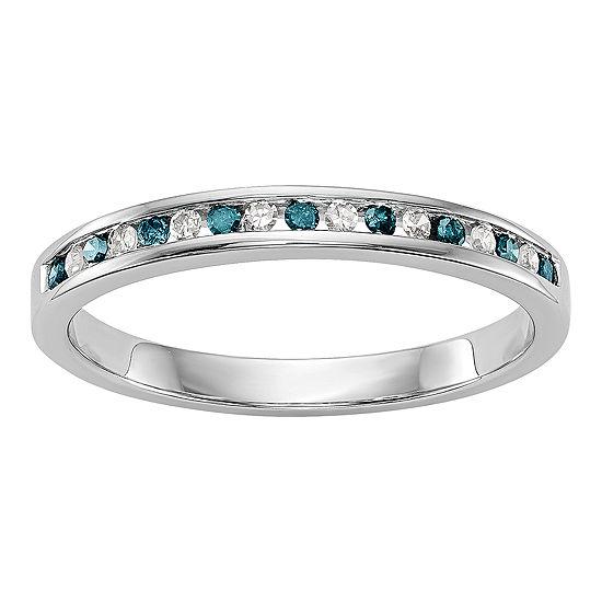Womens 2MM 1/6 CT. T.W. Genuine Multi Color Diamond 14K White Gold Round Wedding Band