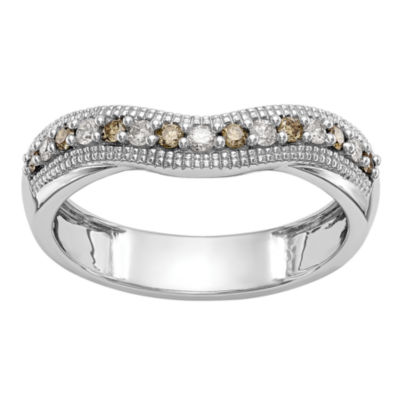 Womens 4MM 1/5 CT. T.W. Genuine Multi Color Diamond 14K White Gold Curved Wedding Band